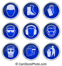 health and safety buttons - Shiny construction health and...