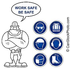 Health and Safety Signs - Mandatory construction...