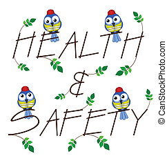 Health and Safety twig text isolated on white background