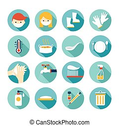 Health and Sanitation Flat Icons Set