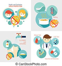 Health and Sanitation Infographics - Cleanness, Contagious...