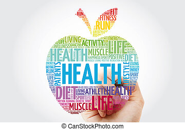 Health apple word cloud with marker