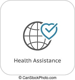 Health Assistance Icon. Flat Design.