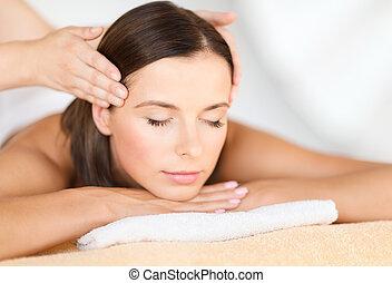 beautiful woman in spa salon - health, beauty, resort and...