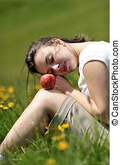 Health & beauty - Wonderful woman eating apple