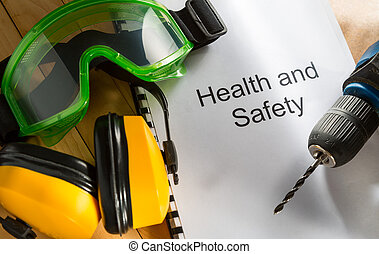 health biztonság, jegyzék, noha, védőszemüveg, fúr, és, fülhallgató