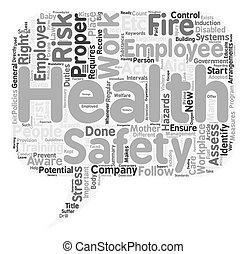 health biztonság, munkában, szöveg, háttér, wordcloud, fogalom