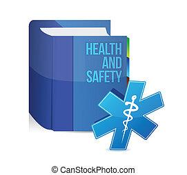 health biztonság, orvosi, könyv, ábra, tervezés