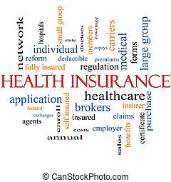 health biztosítás, szó, felhő, fogalom