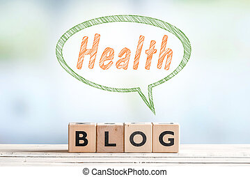Health blog message sign on a table - Health blog message...