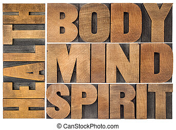 health, body, mind and spirit word abstract