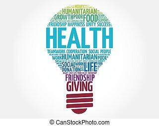 Health bulb word cloud
