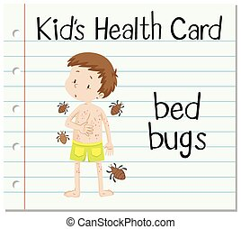 Health card with boy and bed bugs