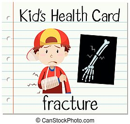 Health card with boy and fracture