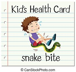 Health card with boy and snake bite