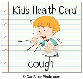 Health card with boy coughing