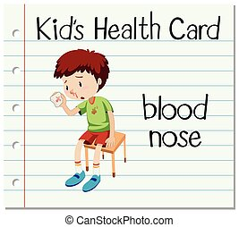 Health card with boy having blood nose