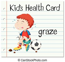 Health card with boy having graze
