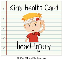 Health card with boy having head injury