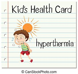 Health card with boy having hyperthermia