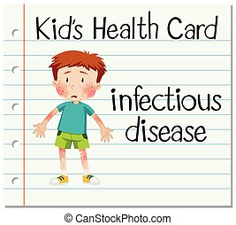 Health card with boy having infectious disease