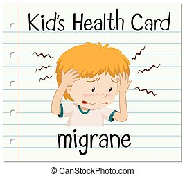 Health card with boy having migrane