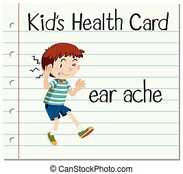 Health card with little boy and earache
