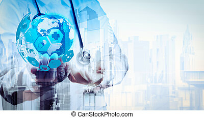Double exposure of smart medical doctor holding the world with abstract city as concept