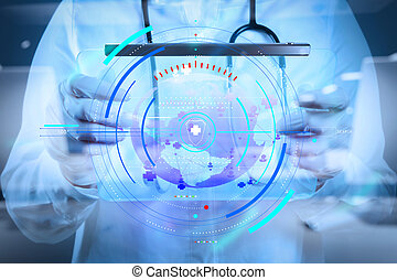 Medicine doctor working with modern computer interface as medical network