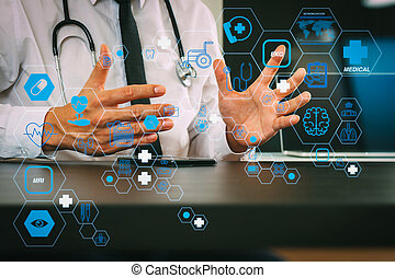 smart medical doctor working with smart phone and digital tablet computer and stethoscope on wood desk in modern office