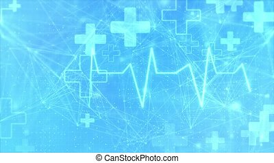 Health care and medical icons technology services loop background from hexagons. Geometric elements of design for modern communications, medicine, science and digital technology. Hexagon pattern