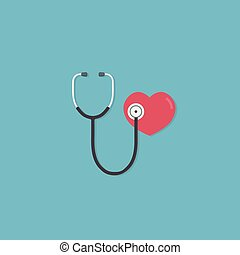 Health care and medicine concept. Flat design of red heart and stethoscope. medical tool for diagnosing of diseases of lungs and heart