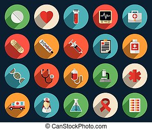 Health care and medicine icons in flat style