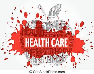 Health care apple word cloud