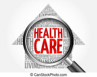 Health care arrow word cloud