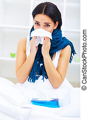 Health Care. Closeup Of Beautiful Ill Woman With Headache, Sore Throat And Fever Covered In Blanket Feeling Sick, Measuring Body Temperature With Thermometer. Sickness And Illness. High Resolution