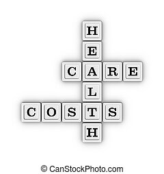 Health care costs crossword puzzle, Health insurance concept.