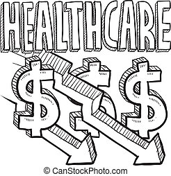 Health care costs decreasing sketch - Doodle style health...