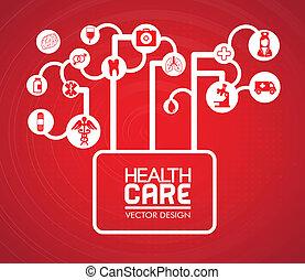 health care design over red background vector illustration