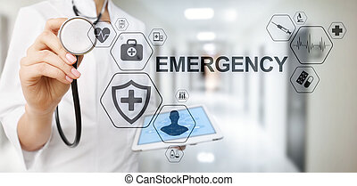 Health Care Emergency concept on screen. Medical doctor using computer.
