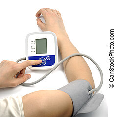 Health Care - Female hands with blood-pressure meter ...
