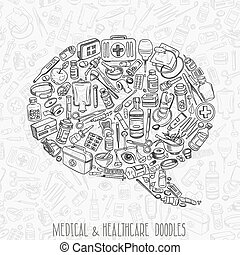 Health care hand drawn background - Health care and medicine...