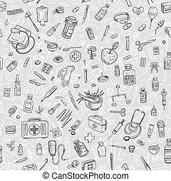 Health care hand drawn seamess background