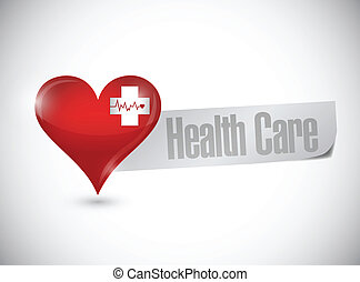 health care heart and lifeline illustration design over...