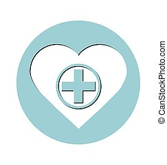 health care icon, cross in heart. Medical concept