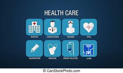 Health care icon set animation
