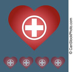 health care icon, white cross in red heart. Medical concept