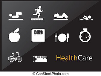 Health care icons over black background vector illustration