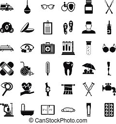 Health care icons set, simple style