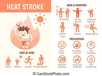 health care infographics about heat stroke risk sign and...